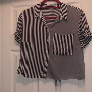 Button down crop top. With tie in the back